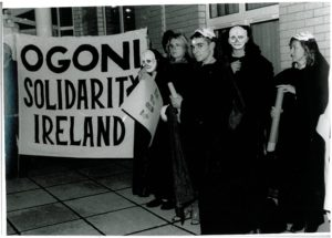 Ogoni Solidarity Ireland protest outside Shell Headquarters in Dublin, 1995. Maynooth University Ken Saro-Wiwa Archive
